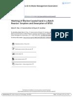 Rao Washing of Marine Coastal Sand in a Batch Reactor Sorption and Desorption of BTEX 2001