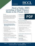 RBI Licensing Small Finance Banks