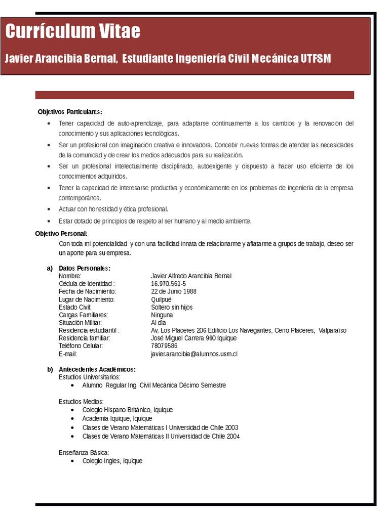Curriculum Vitae Javier Arancibia 2