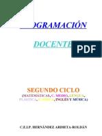 Programación docente áreas lengua, mates, c. medio y plástica