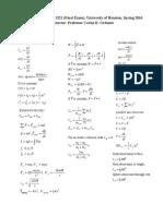 Formula Sheet Final Exam Physics 1321 Spring 2016