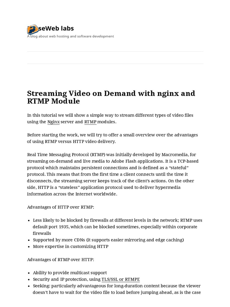Streaming Video on Demand With Nginx and RTMP Module