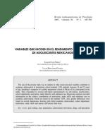 VARIABLES QUE INCIDEN EN EL RENDIMIENTO ACADÉMICO DE ADOLESCENTES MEXICANOS