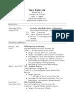 drews teaching resume
