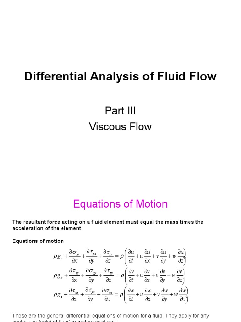 Ch 6 Differential Analysis of Fluid Flow part III viscous flow ppt