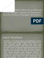 Growth and Yield of Broccoli as Affected By