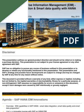 1155 SAP HANA and EIM Smart Data Integration and Smart Data Quality