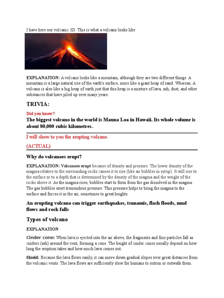 Report Explanation Volcano Lava Cinder Cone Cones Shield
