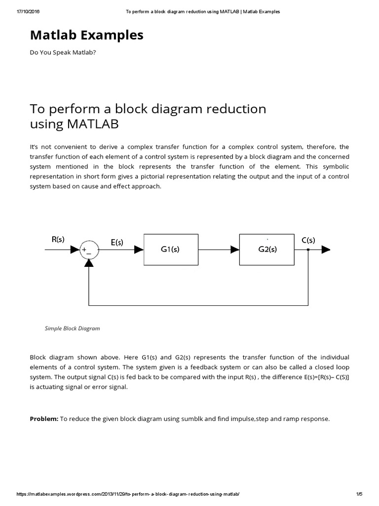 To Perform a Block Diagram Reduction Using MATLAB _ Matlab Examples ...