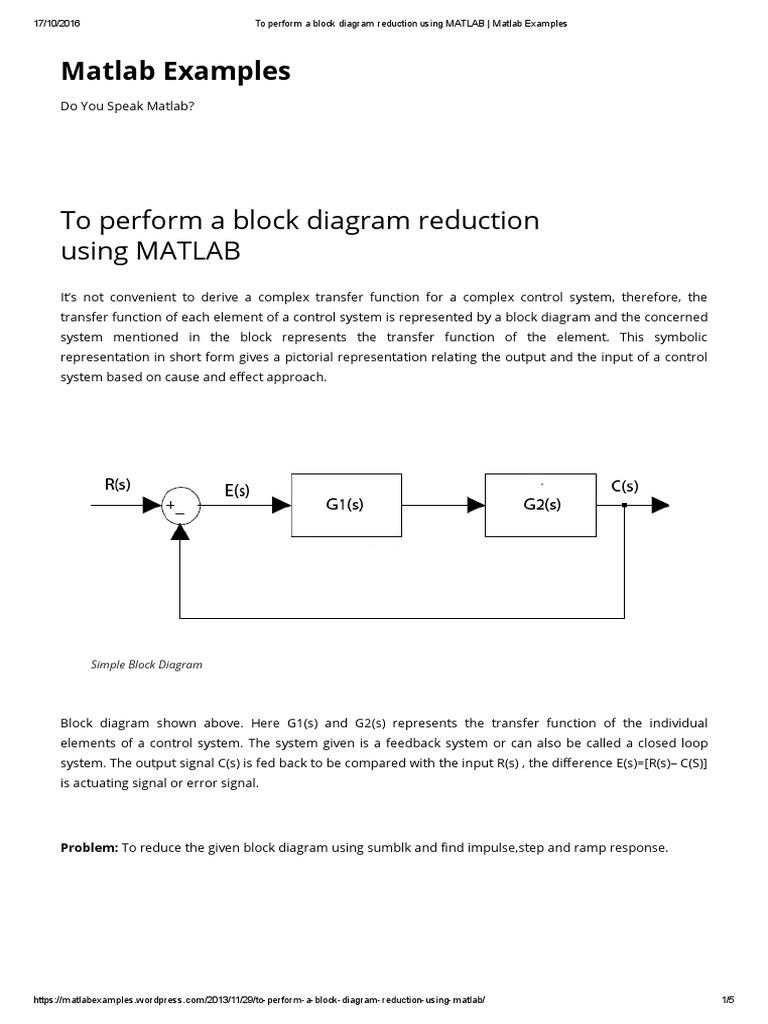 To Perform A Block Diagram Reduction Using Matlab   Matlab