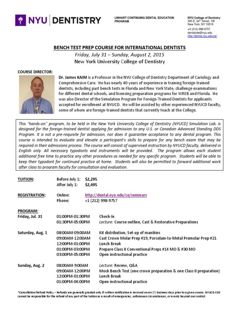 2015 NYUCD Bench Test Prep Course | Dentist | Dentistry