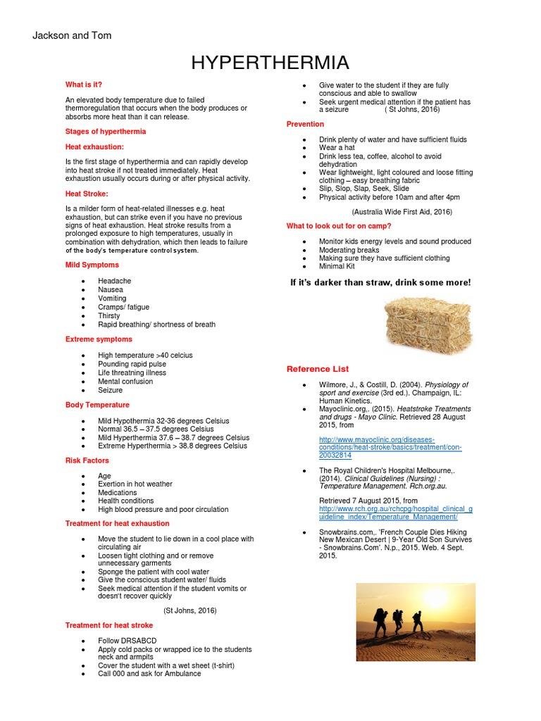 Hyperthermia Handout Hyperthermia Clinical Medicine