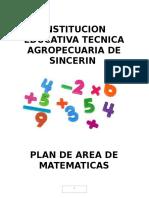Plan de Area de Matematicas Contiene Introduccion