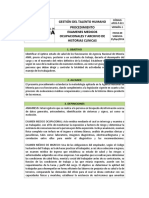 Proced Examenes Medicos Ocupacionales y Archivo de Historias Clinicas