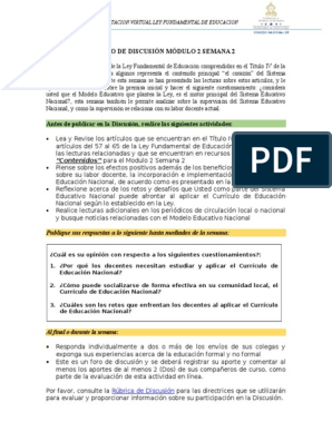 Foro De Discusion 0202 Modulo 2 Semana 2 Plan De Estudios Aprendizaje