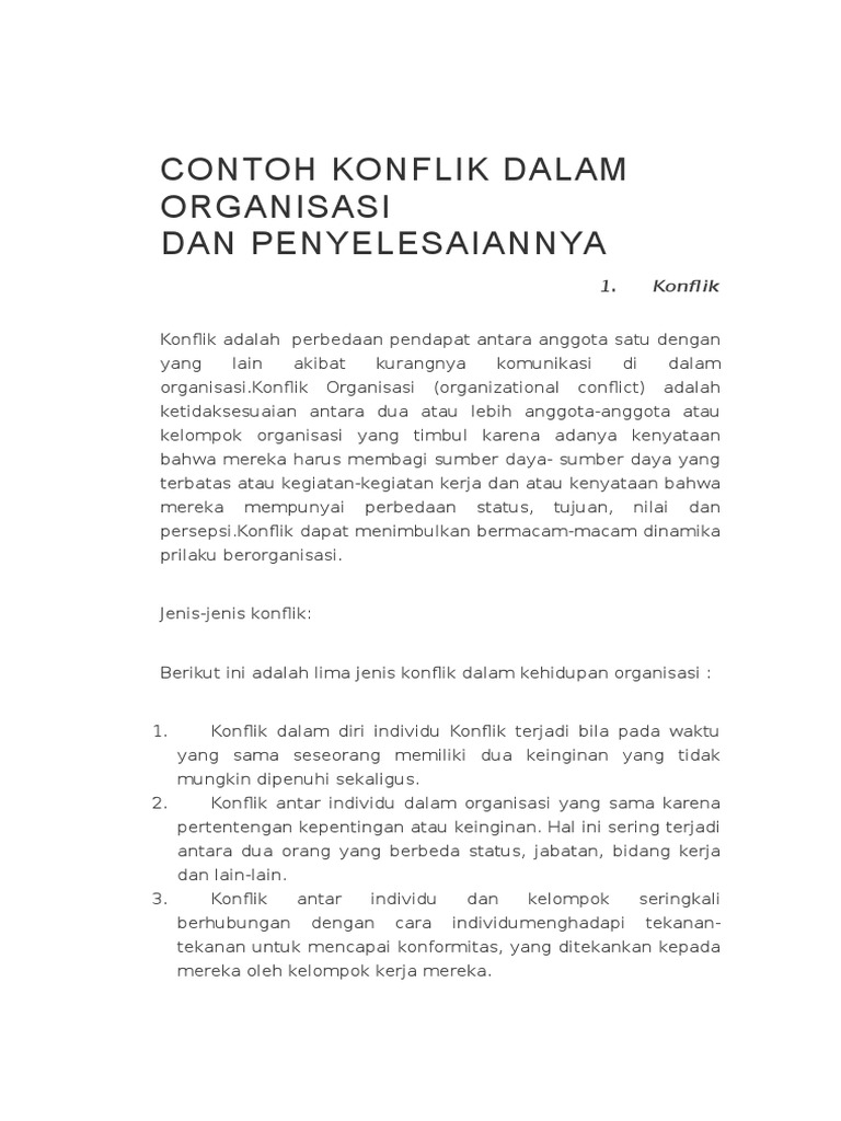 Contoh Kasus Konflik Dalam Organisasi Dan Penyelesaiannya - Temukan Contoh