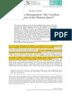 New Public Management- The Cruellest Invention of the Human Spirit?