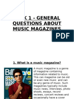 Task 1 - General Questions About Music Magazines