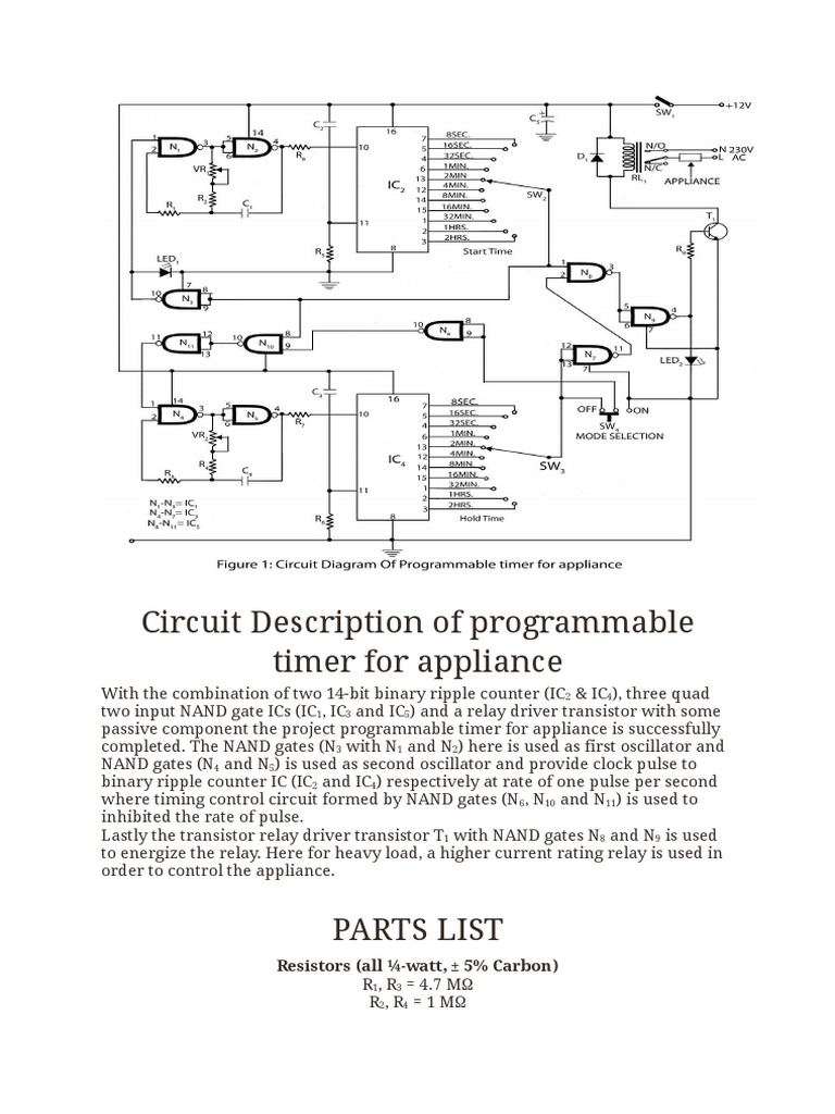 Circuit Description Of Programmable Timer For Appliance Electronic Debounce Switch Circuits Liquid Crystal Display