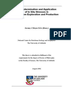 tesis de geomecanica pdf | Stress (Mechanics) | Hydraulic