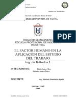 El Factor Humano en La Aplicacion Del Estudio Del Trabajo
