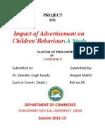 Impact of Advertisement on Children Behaviour