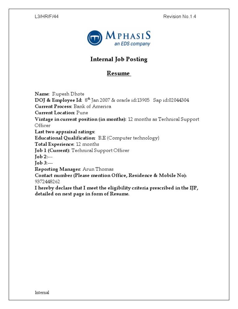 Internal Job Posting Resume Format 3