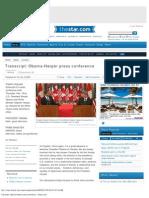 Transcript_ Obama-Harper Press Conference - Thestar