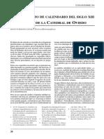Un Fragmento de Calendario del s. XIII del Archivo de la Catedral de Oviedo