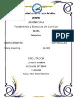 Trabajo Fina Fundamentos y Estructura Del Curriculo Dominicano-diliana Green