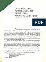 La Religión Como Autoconciencia Del Espiritu en La Fenomenologia de Hegel