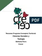Resume Programa Bethania Parra- CT Sociales y Teología Crecer 2017