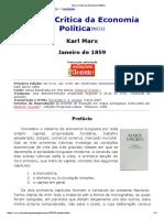 Para a Crítica Da Economia Política