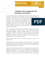 COMUNICADO (20.10.16) Voluntad Popular Ante Suspension Del RR