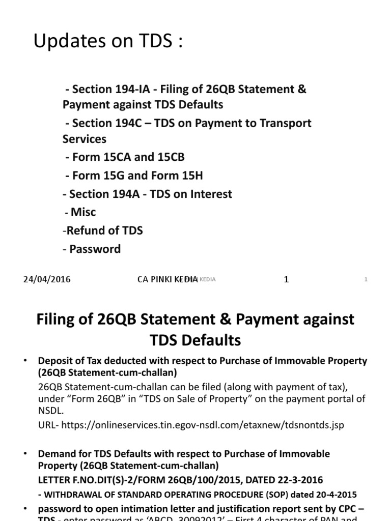 23 April 2016 Updates On Tds And Tcs Ca Pinki Kedia Tax Refund