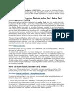 Aadhaart Card Status Download Correction