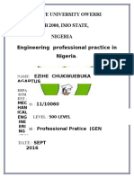 Professional Engineering Practice in Nigeria