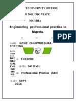 Professional Engineering Practice in Nigeria