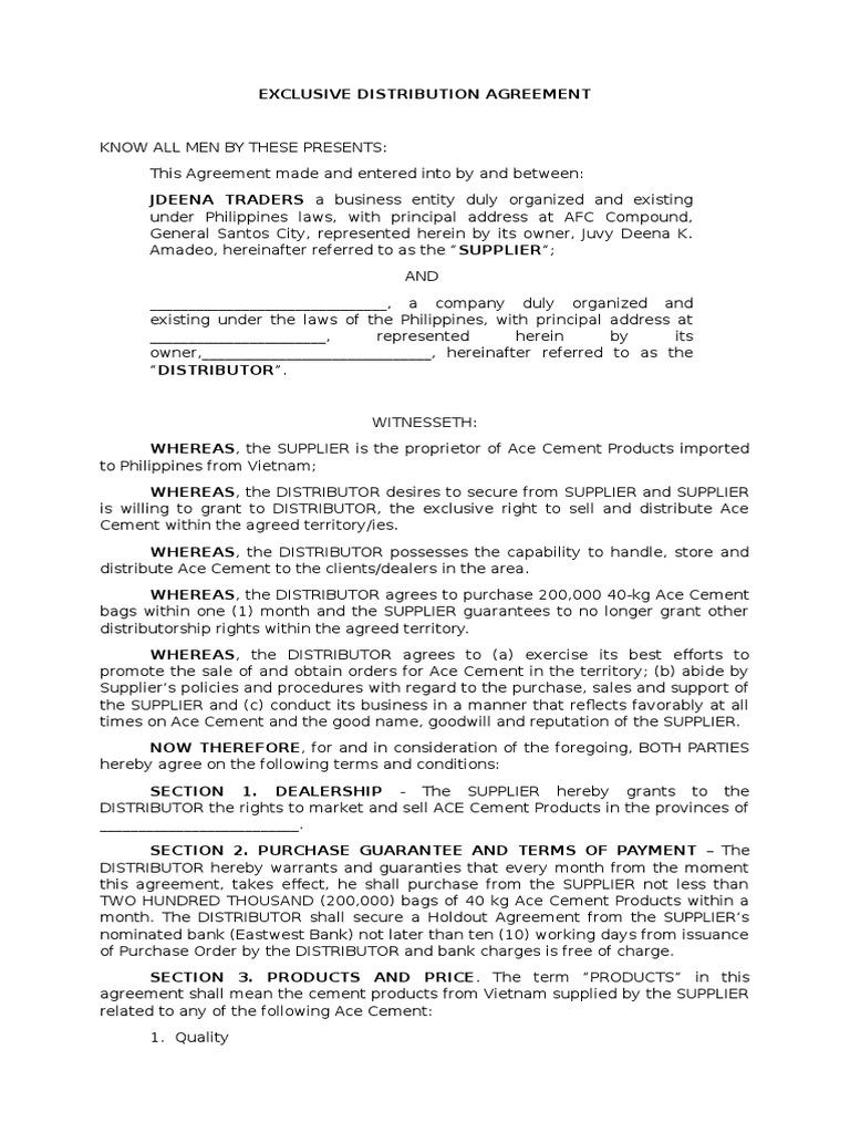 Exclusive distribution agreement guarantee society platinumwayz