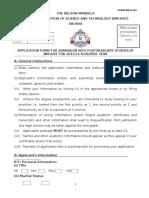Postgraduate Application Form 2015