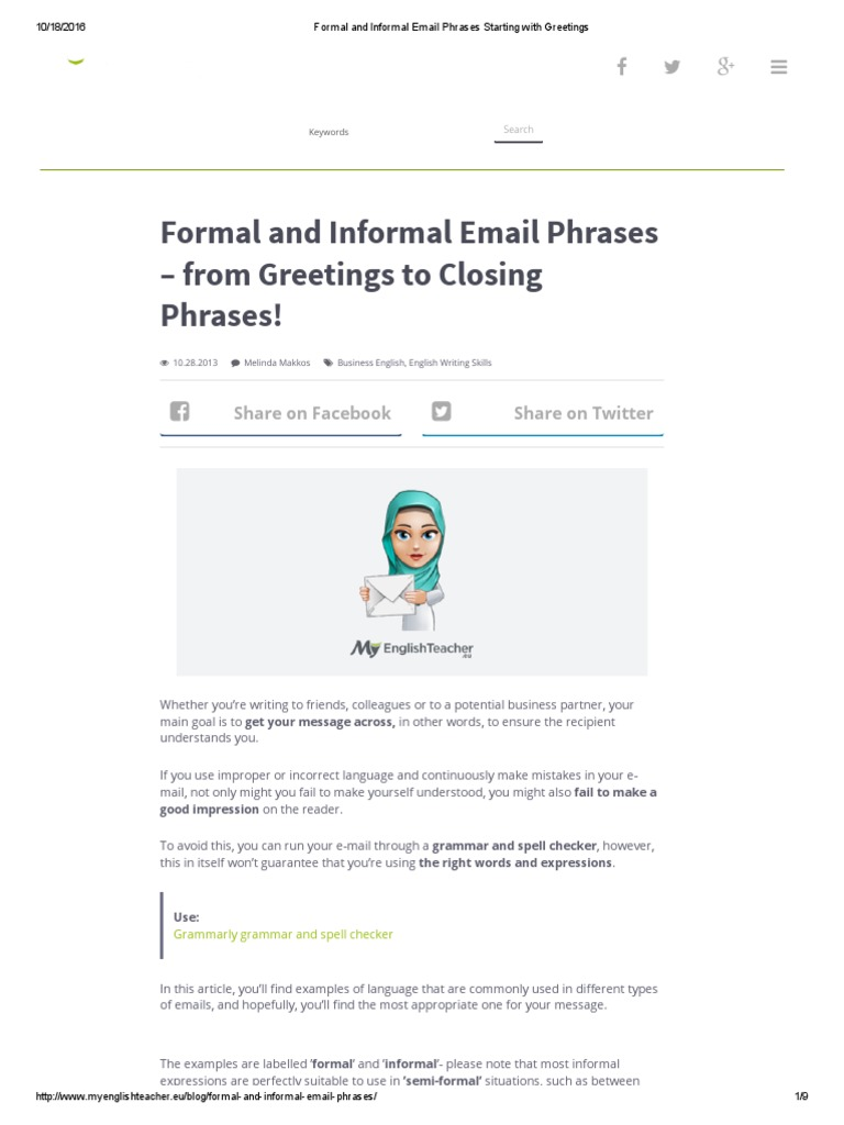 Formal and informal email phrases starting with greetings formal and informal email phrases starting with greetings english language semiotics kristyandbryce Gallery