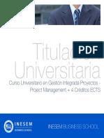 Curso Universitario en Gestión Integrada Proyectos - Project Management + 4 Créditos ECTS
