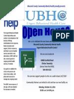 urgent behavioral health open house flyer