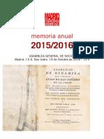 Memoria de actividades de Madrid, Ciudadanía y Patrimonio 2016