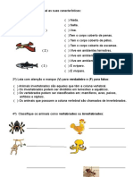 Prova Animais Vertebrados e Invertebrados