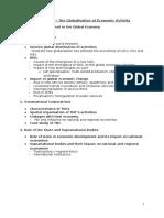 Economic Globalisation Notes