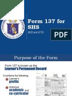 Form 137 for SHS 201610