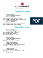 Actividades Fin de Semana 21, 22 y 23 de Octubre 2016