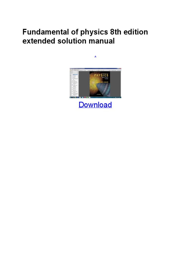 Fundamental of physics 8th edition extended solution manualpdf fundamental of physics 8th edition extended solution manualpdf physics mathematics physics fandeluxe Images
