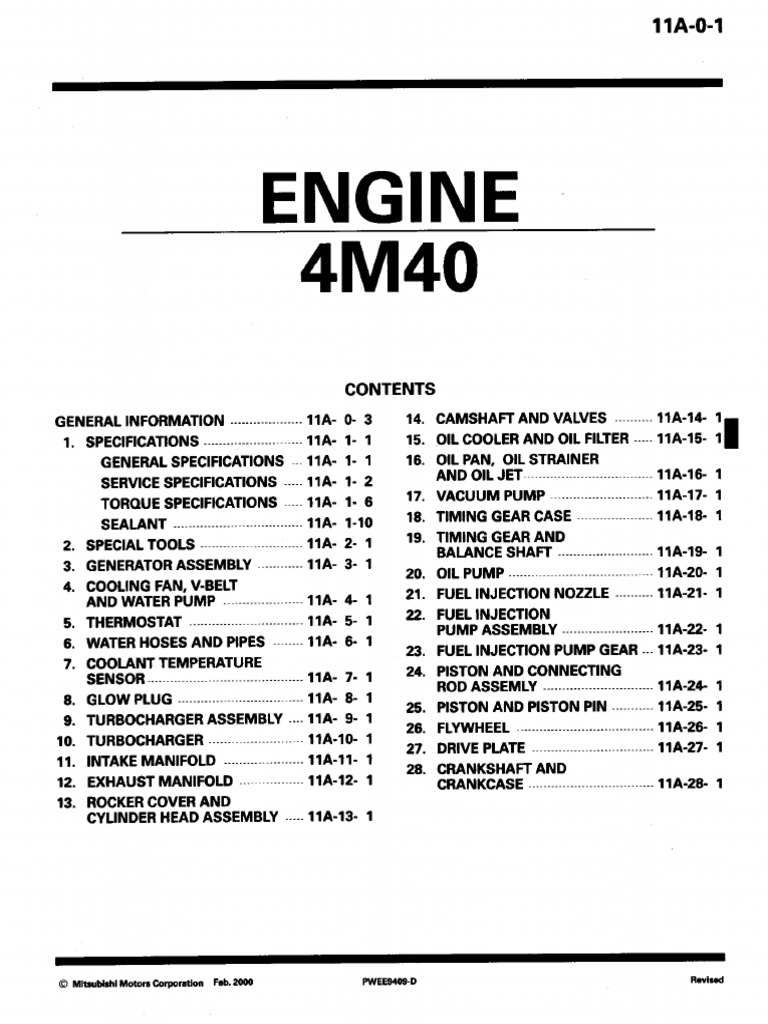 4m40 cylinder engine screw rh es scribd com mitsubishi 4m4 diesel engine workshop manual (4m40) mitsubishi 4m40 engine service manual